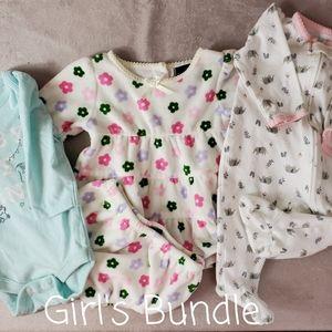 A GIRL'S BUNDLE: DRESS, FOOTSIE & ONSIE, 3 MONTHS